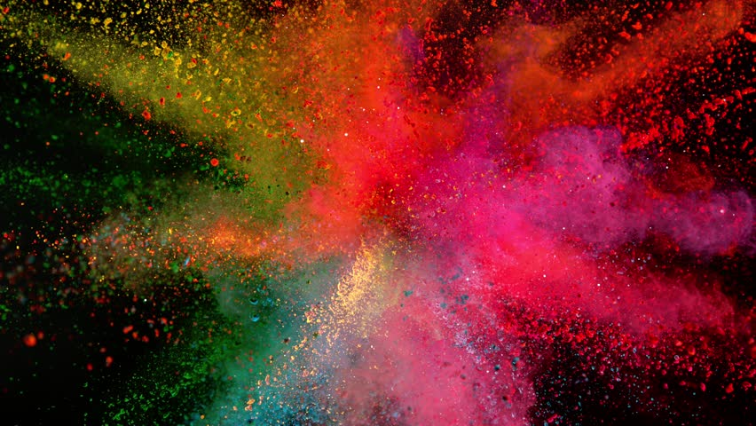 Super slowmotion shot of color powder explosion isolated on black background. Shot with high speed cinema camera at 1000fps #1018705456
