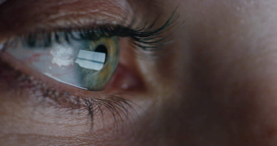Close up macro eye screen reflecting on iris woman browsing online at night | Shutterstock HD Video #1018711666