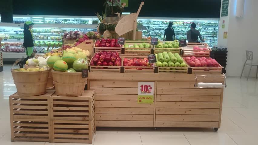 Seremban, 30 Sept 2018, Nilai Jaya Grocer Market, Family are shopping at jaya Grocer  during weekend.
