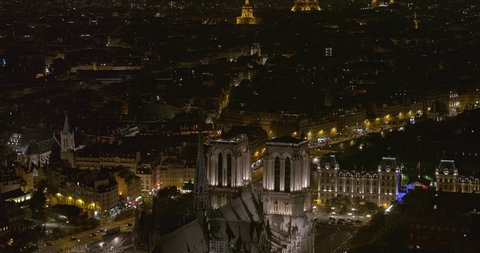 France Paris Aerial  Birdseye to panning detail of Notre Dame Cathedral and square 8/18