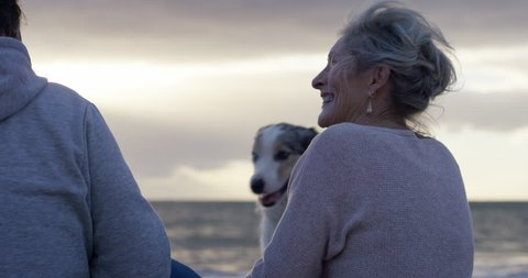 Mature lady at beach laughing with a friend as a dog says hello