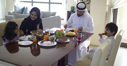 Family eating in dubai at home