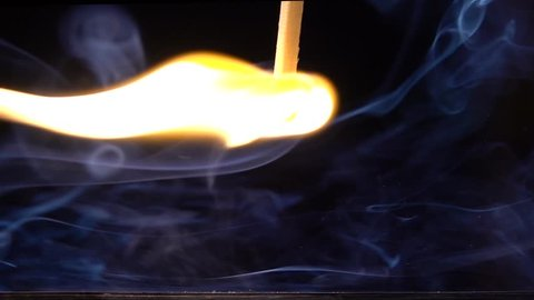 a matchstick lights after it is struck against the striking surface of a  match box