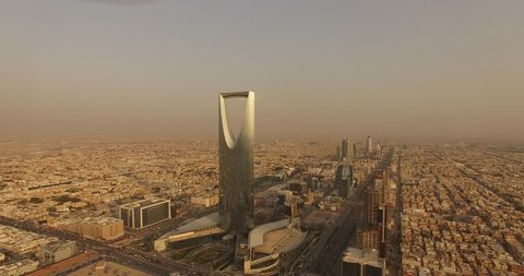 Riyadh ,saudi arabia /15-09-2018 kingdom tower dron sunrise.