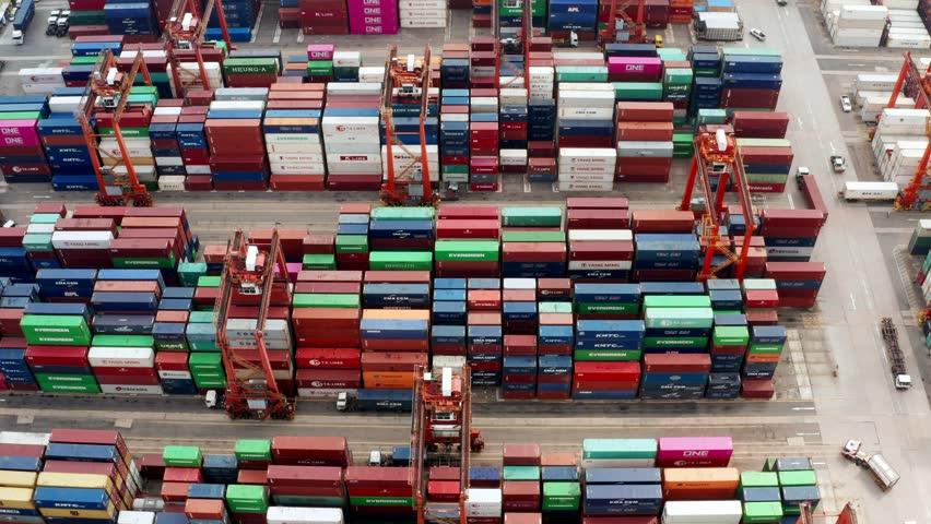 Kwai Tsing , Hong Kong 09 October 2018:- Cargo Container Port in Hong Kong  | Shutterstock HD Video #1018895416