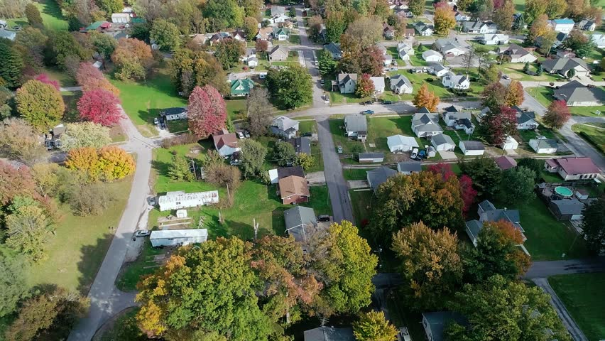 An incredible aerial shot of the midwest during the peak of the autumn color shift. | Shutterstock HD Video #1018959706