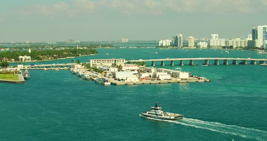 MIAMI, FL, USA - NOVEMBER 1, 2018: Aerial Miami Fisher Island Ferry #1018979686