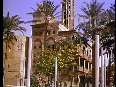 WADI NATURIM OASIS, EGYPT, 1977, Coptic monastery, long shot, tilt up tower