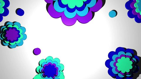 Clean retro the shape of flowers series loop color option two  Animated background with last frame removed for looping HD 30FPS