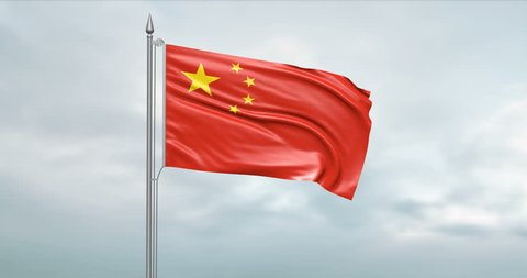 3d illustration of the state flag of the People's Republic of China moving in the wind at the flagpole in front of a cloudy sky with its alpha channel