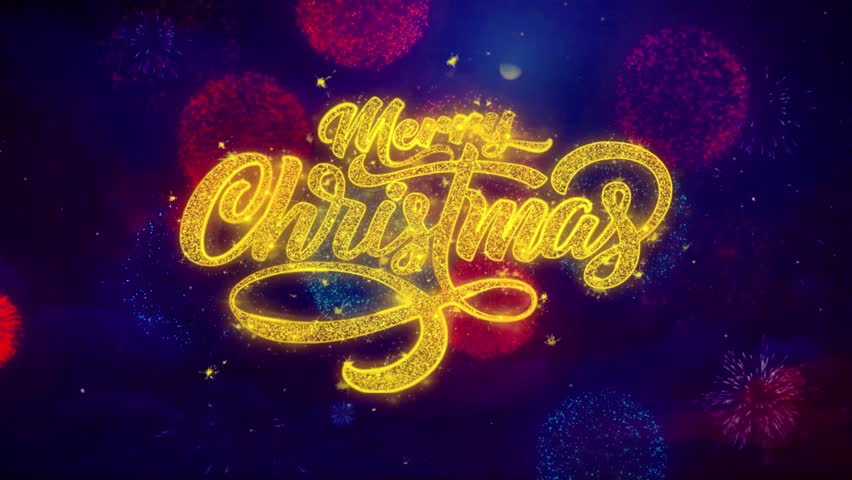 Merry Christmas xmas greeting text with particles and sparks Colored Bokeh Fireworks Display 4K. for Greeting card, Celebration, Party Invitation, calendar, Gift, Events, Message, Holiday, Wishes . | Shutterstock HD Video #1019310286