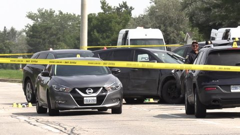 Brampton, Ontario, Canada September 2018 Police at crime and car crash scene after robbery suspects arrested near Toronto