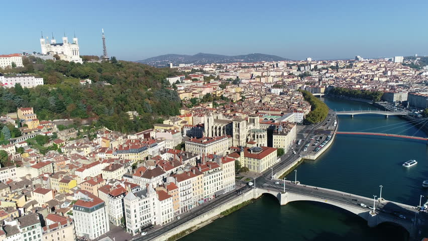 Lyon, Aerial view of Lyon, the old town over the Saone river | Shutterstock HD Video #1019325376