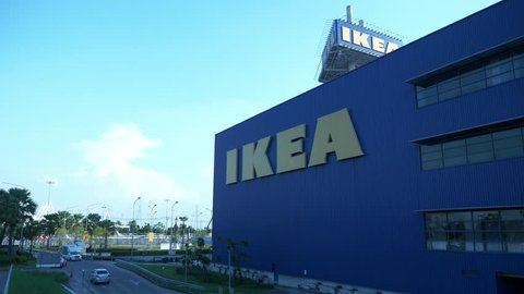 bangkok thailand november 12 2018 ikea large blue banners and car chases in