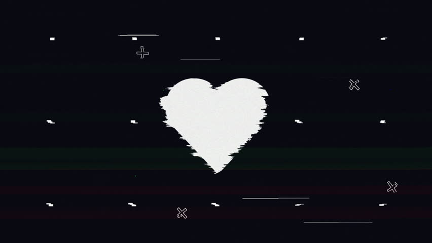 Looped heart sign glitch on black background