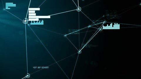 Futuristic abstract cyan network and data connection 3D animation. Looping particle nodes move and connect in seamless loop. Technology, communication and social media concept. Alpha channel matte