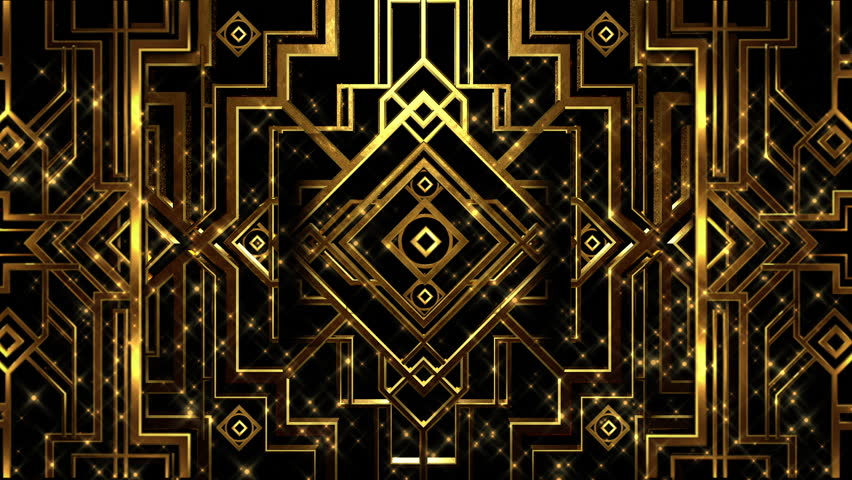 Art deco gatsby style gold metal patterned structure with rising gold particles | Shutterstock HD Video #1019426596