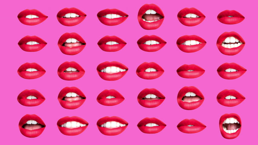 Time lapse sequence of woman's full red lips talking and moving against pink background  | Shutterstock HD Video #1019429716