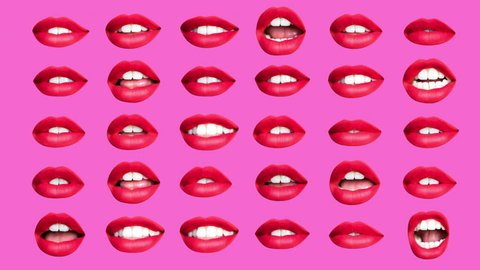 sequence of different images of woman's beautiful full red lips made into a repeating wallpaper pattern