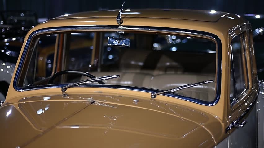 Detail video with classic car collection at an exhibition