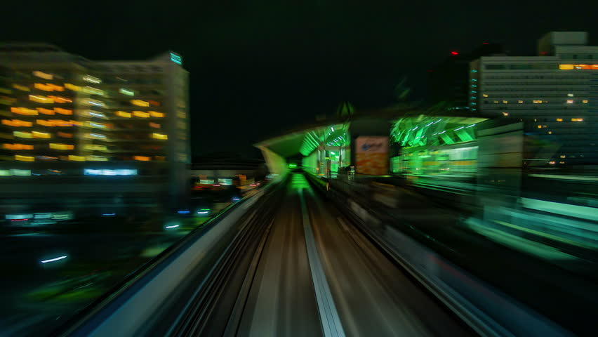 4K.Time lapse automatic train fast speed at Tokyo city of Japan  | Shutterstock HD Video #1019461756