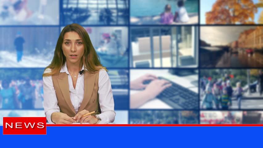 Female anchorwoman  in broadcasting studio | Shutterstock HD Video #1019521066