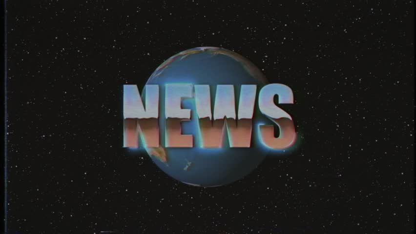 Shiny retro VHS style NEWS word fly in and out in stars space and Earth globe animation background new unique vintage beautiful dynamic joyful colorful video stock footage | Shutterstock HD Video #1019531056