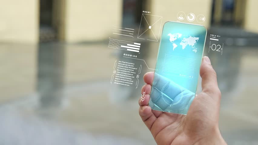 Handsome man using smartphone with futuristic screen. Businessman in the city use new transparent smart phone. World map. Multimedia technology. Future is now. Blue screen | Shutterstock HD Video #1019581486