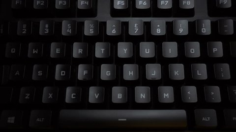 The word porno is typed on a glowing computer keyboard