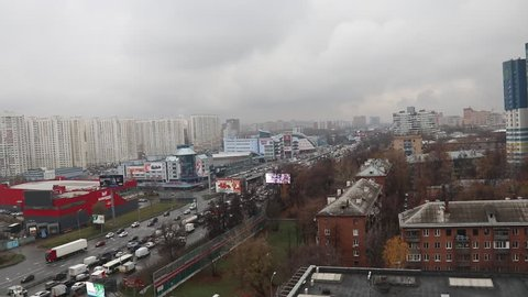 Khimki, Russia - November 2018: Road traffic on Leningradskoye Highway from top of skyscraper in cloudy weather