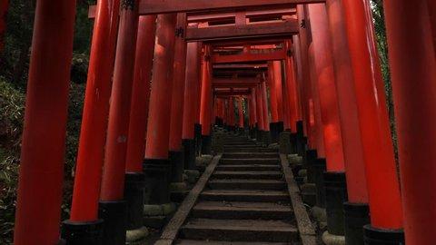 Fushimi Inari Taisha religios center in Kyoto, Japan with its countless torii gates