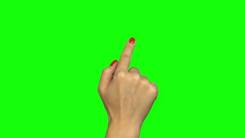 Female hand touch gestures on green screen