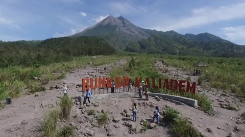 YOGYAKARTA INDONESIA, NOVEMBER 22 2018 : Bunker Merapi Mountain. Aerial Lava Tour Merapi with Jeep of Merapi Lava Tour adventure - one good recreation for family or group of tour in Yogyakarta