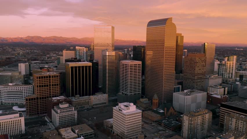 4k aerial drone footage - Sunrise over the city of Denver Colorado.