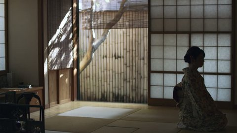Woman in floral kimono kneeling in a traditional Japanese room with shoji doors with soft day lighting. Wide shot on 4k RED camera.