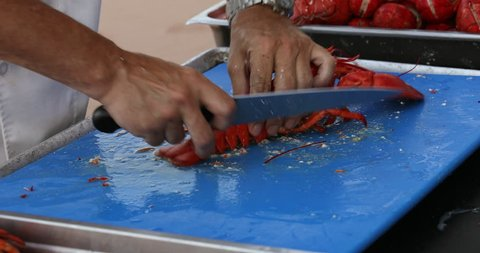 A chef cuts lobster in a dinner preparation by the Atlantic Ocean shore in Prince Edward Island Canada