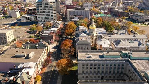 Aerial View Over the State Capitol Building Trenton New Jersey Downtown City Skyline