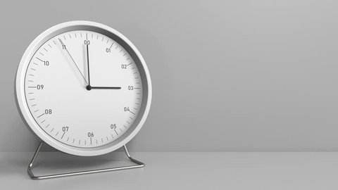 Round clock shows 3:00 or 15:00 sharp. Three or fifteen o'clock. 3D animation