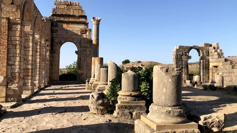 Ruins of ancient roman city Volubilis near to Meknes, Morocco, Africa.