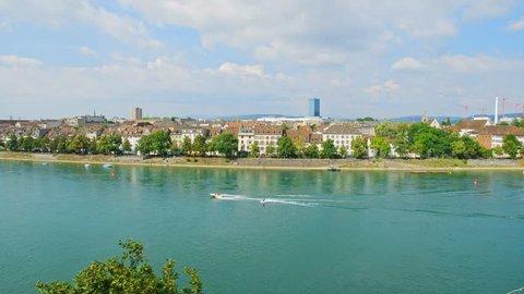 Basel Panorama Along Rhine River. Basel, Basel-Stadt, Switzerland.