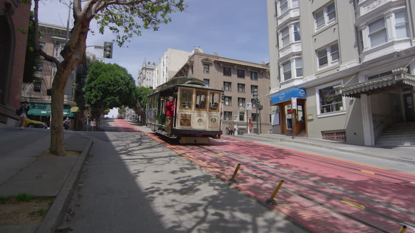 San Francisco, California, United States - April 16 , 2017: Cable car moving on the street in San Francisco | Shutterstock HD Video #1020015556