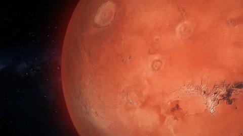 Fullscreen Mars Passes By. Beautiful, cinematic animation of the red planet, which passes by in fullscreen.