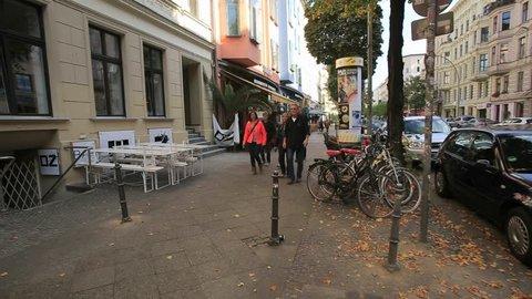 Berlin/Germany-2018: Street Scene in Kreuzberg, Berlin-Bergmannstrasse