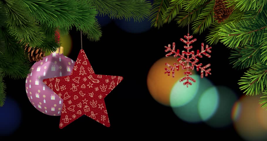 Christmas ornaments and pines are swinging in front of a bokeh background. 3D rendering. Includes empty copy space for your title. Real 4K resolution. | Shutterstock HD Video #1020172666