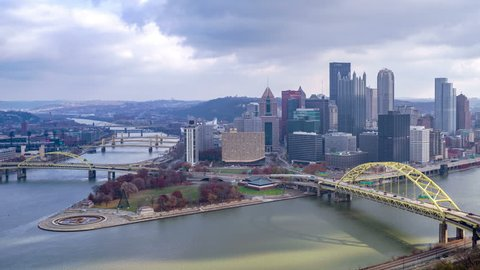 Pittsburgh, Pennsylvania, USA - November 25, 2018: 4K time lapse of Pittsburgh