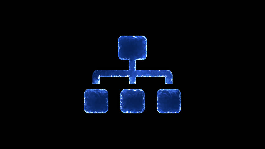 Symbol sitemap. Blue Electric Glow Storm. looped video. Alpha channel black