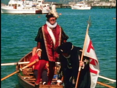 SAN FRANCISCO, CALIFORNIA, 1979, Columbus Day Festival Columbus gets out of boat