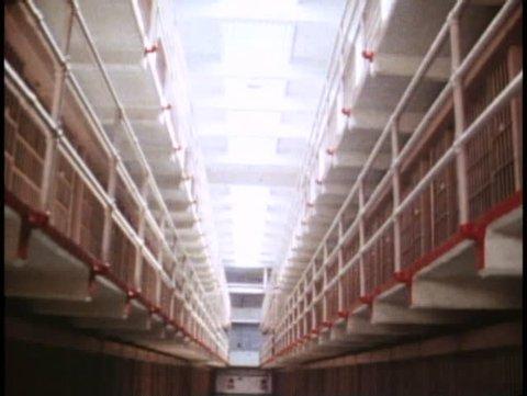 SAN FRANCISCO, CALIFORNIA, 1979, Alcatraz Prison, long row of cells, no people