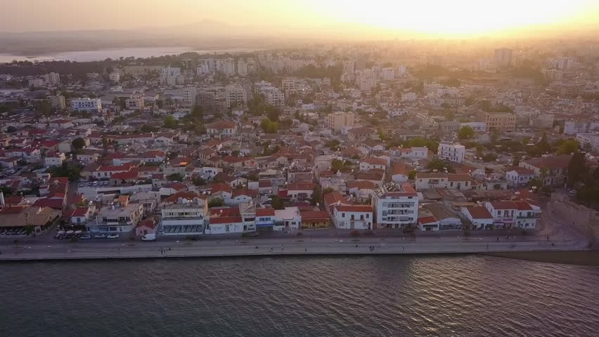 Aerial View of the Larnaca City during Sunset Time, Cyprus   Shutterstock HD Video #1020498586