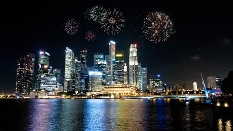 Skyline with Fireworks, Singapore | 4K | Time Lapse